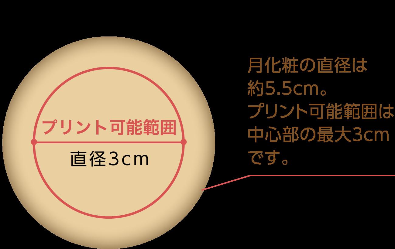月化粧の直径は約5.5cm。プリント可能範囲は中心部の最大3cmです。